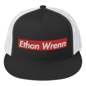 Ethan Wrenn Embroidered Red Box-Logo Trucker Cap