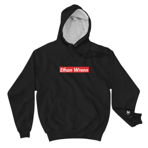 Ethan Wrenn Embroidered Red Box-Logo Champion Hoodie