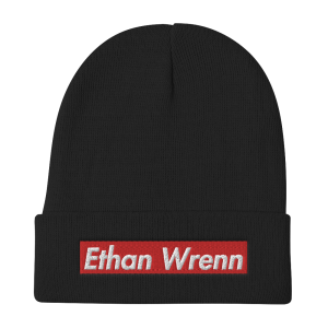 Ethan Wrenn Embroidered Red Box-Logo Beanie