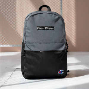 Ethan Wrenn Embroidered Black Box-Logo Champion Backpack