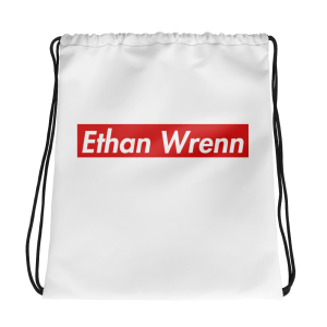 Ethan Wrenn Red Box-Logo Drawstring bag